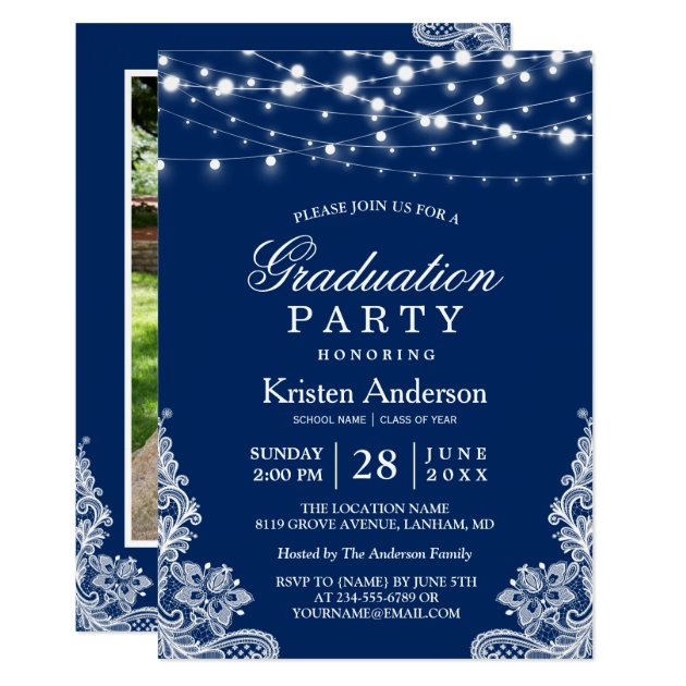 2017 Graduation Party String Lights Lace Navy Blue Card