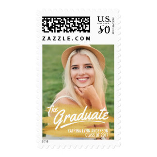 2017 Graduation Photo - Painted Gold Brush Strokes Postage