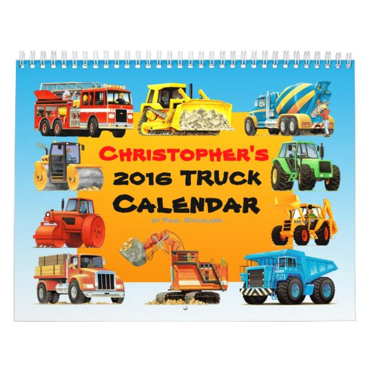 2017 kids custom construction truck calendar zazzle com