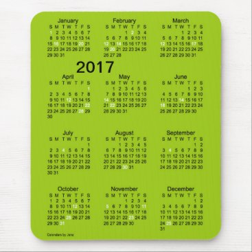 Beach Themed 2017 Large Print Green Holiday Calendar by Janz Mouse Pad