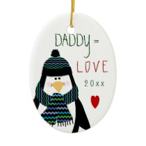 2017 Love DADDY Penguin Christmas Gift Ceramic Ornament