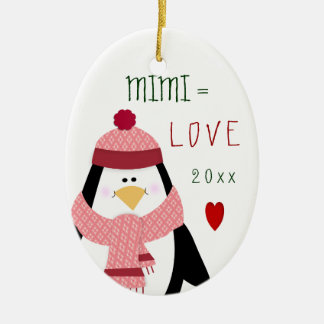 2017 Love MIMI Penguin Christmas Gift Ceramic Ornament