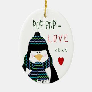 2017 Love POP POP Penguin Christmas Gift Ceramic Ornament