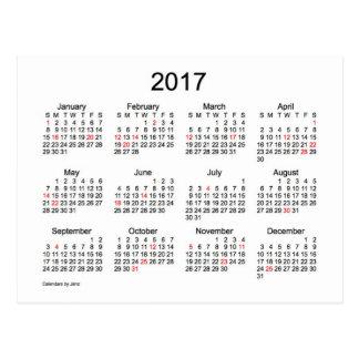 2017 Mini Calendar by Janz with Holidays Postcard