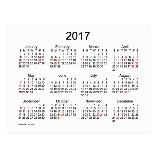 2017 Mini Calendar by Janz with Holidays Postcard | Zazzle