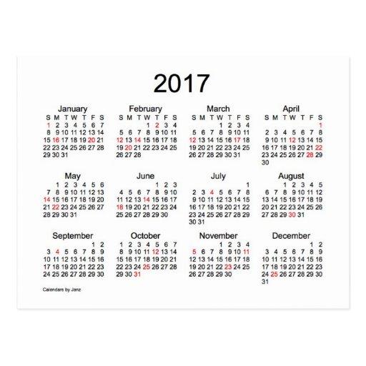 2017 Calendar With Holidays 2017 mini calendar with