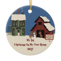 2017 New Home Christmas Reindeer Farm Ceramic Ornament