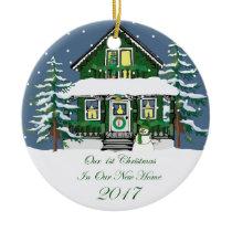 2017 New Home Christmas Snowman Cabin Ceramic Ornament