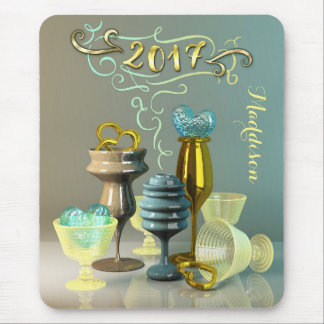 2017 New Year Stylish Gold Turquoise Party Glasses Mouse Pad