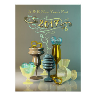 2017 New Year Stylish Gold Turquoise Party Glasses Poster