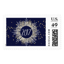 2017 New Year's Eve Gold Confetti Postage