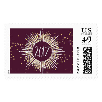 2017 New Year's Eve Gold Confetti Postage Stamp