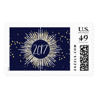2017 New Year's Eve Gold Confetti Stamp