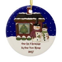 2017 Our New Home Christmas Snowman Ceramic Ornament