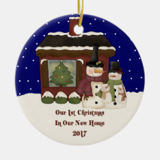 2017 Our New Home Christmas Snowman Ceramic Ornament at Zazzle