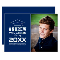 2017 Photo Graduation Party | Navy Blue Card