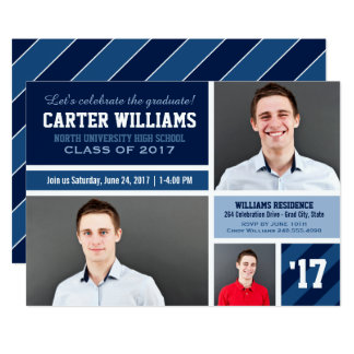 2017 Photo Graduation Party | Navy Blue Collage Card