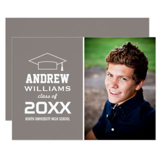 2017 Photo Graduation Party | Pewter Gray Card