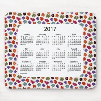 2017 Red Flower Power Calendar by Janz Mouse Pad