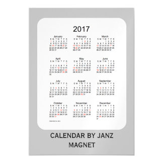 2017 Silver Holiday Calendar by Janz 5x7 Magnet Magnetic Card