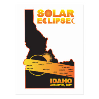 2017 Solar Eclipse Across Idaho Cities Map Postcard