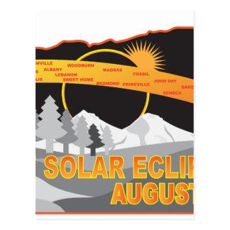 2017 Solar Eclipse Across Oregon Cities Map Postcard