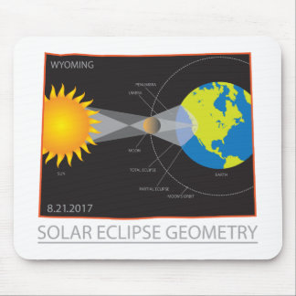 2017 Solar Eclipse Geometry Wyoming State Map Mouse Pad