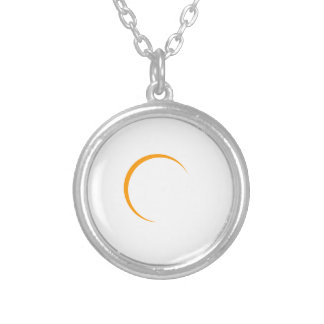 2017 Solar Eclipse(looks best on dark backgrounds) Silver Plated Necklace