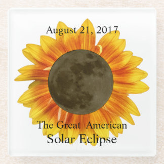2017 Solar Eclipse Moon and Sunflower Glass Coaster