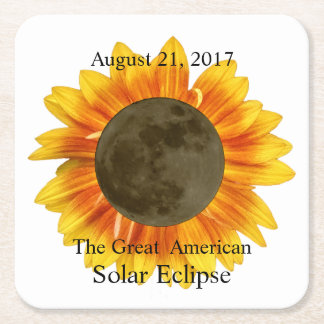 2017 Solar Eclipse Moon and Sunflower Square Paper Coaster