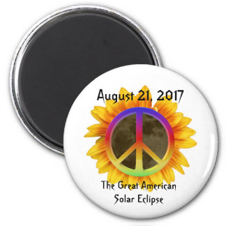 2017 Solar Eclipse, Sunflower and Peace Symbol Magnet