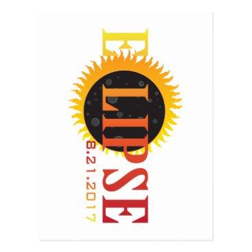 2017 Solar Eclipse Text Abstract Illustration Postcard