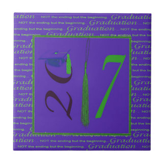 2017, Tassel as the One, Grad Cap on Two, Purple Ceramic Tile