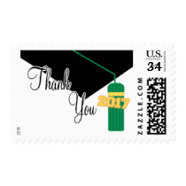 2017 Thank You (Green Graduation Cap And Tassel) Postage