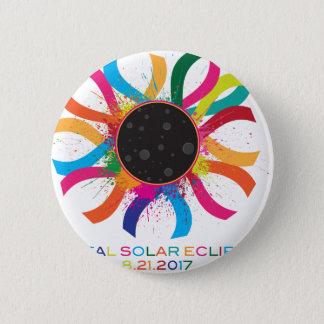 2017 Total Solar Eclipse Corona Text Color Pinback Button