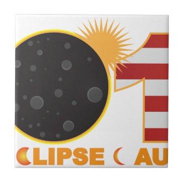 2017 Total Solar Eclipse Over USA Numeral Ceramic Tile