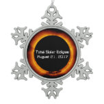 2017 Total Solar Eclipse Snowflake Pewter Christmas Ornament