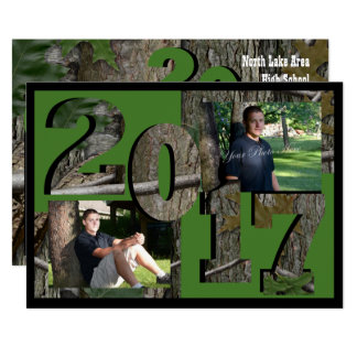 2017 Tree Camo Graduation Twin Photo Hunter Green Card