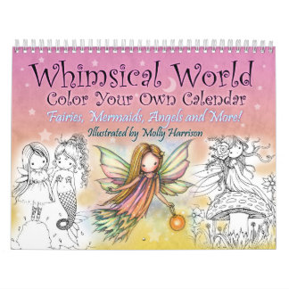 2017 Whimsical World Color Your Own Wall Calendar