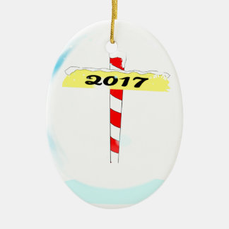 2017 Winter Pole Ceramic Ornament