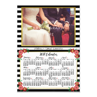 2017 Year Calendar Trendy Floral Stripes | Photo Magnetic Card