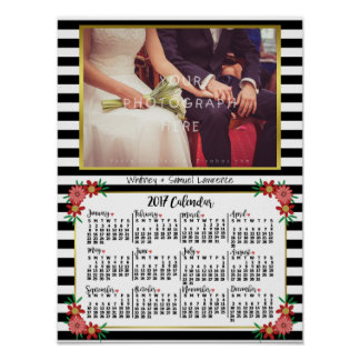 2017 Year Calendar Trendy Floral Stripes | Photo Poster