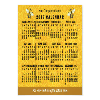 2017 Year Monthly Calendar Bee Honeycomb Custom Magnetic Card
