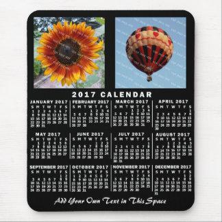 2017 Year Monthly Calendar Black Custom 2 Photos Mouse Pad