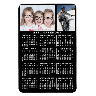 2017 Year Monthly Calendar Black | Photo Template Magnet
