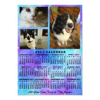 2017 Year Monthly Calendar Blue Watercolor 3 Photo Magnetic Card