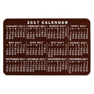 2017 Year Monthly Calendar Brown Wood Grain Magnet