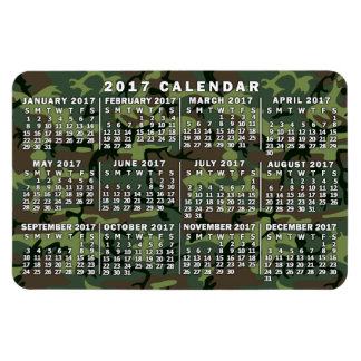 2017 Year Monthly Calendar Camouflage Camo Green Magnet