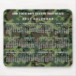 2017 Year Monthly Calendar Camouflage Camo Green Mouse Pad