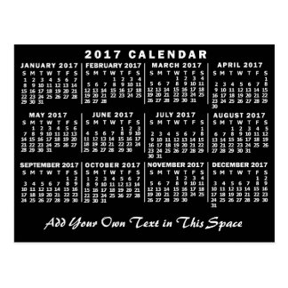 2017 Year Monthly Calendar Classic Black and White Postcard